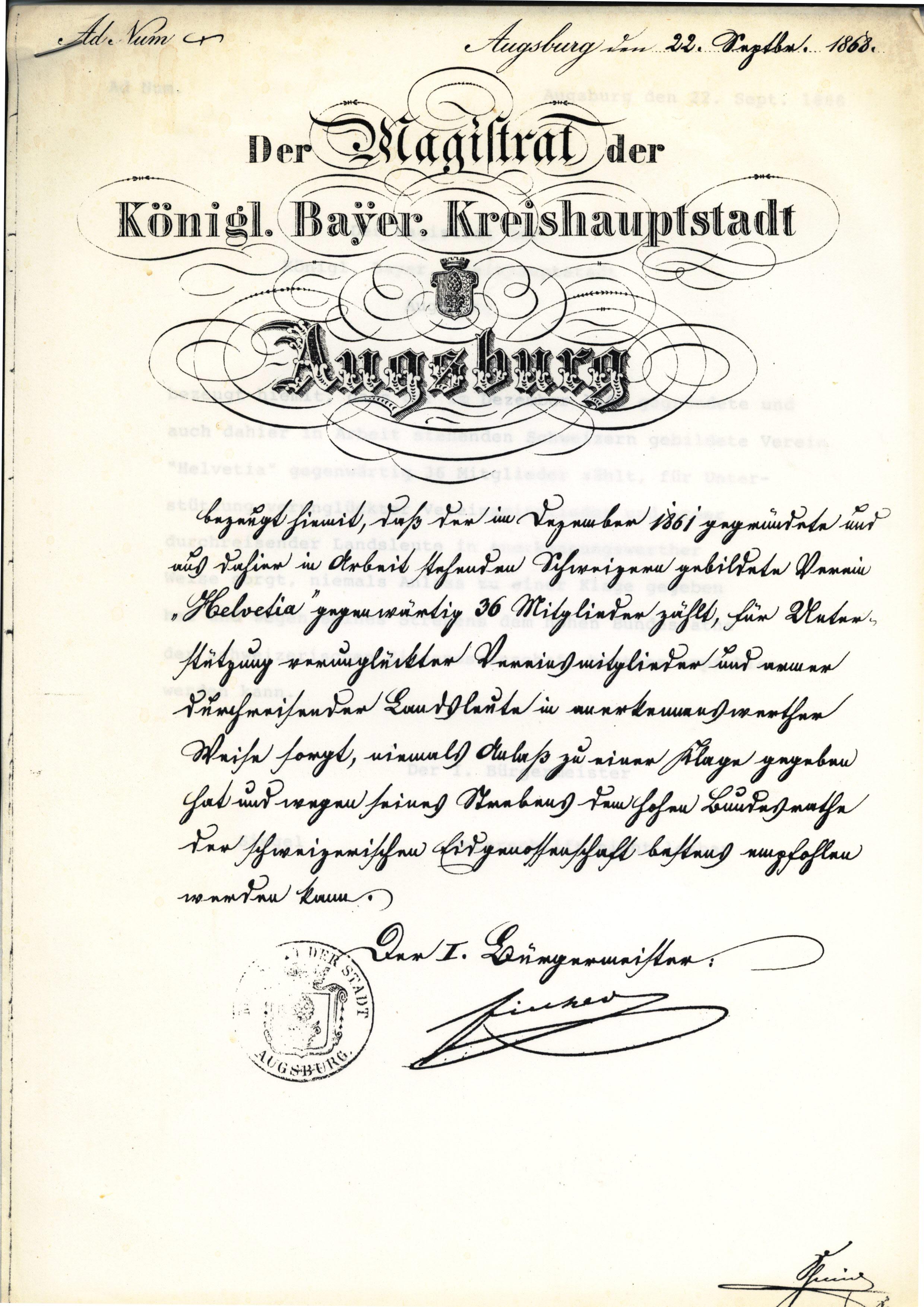 Gründungsdokument Magistrat